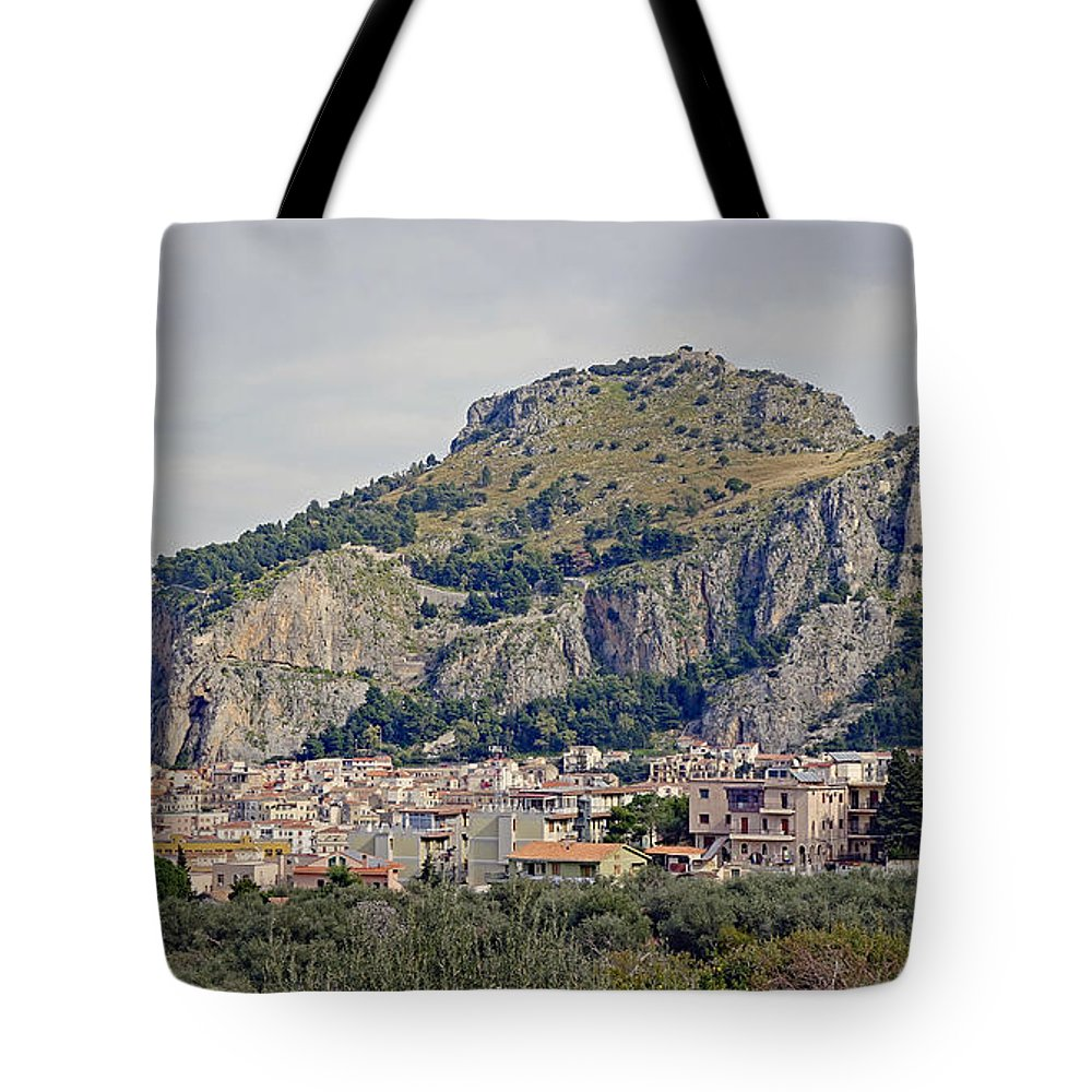 Cefalu Tote Bag featuring the photograph Distant View Of Cefalu Sicily by Richard Rosenshein