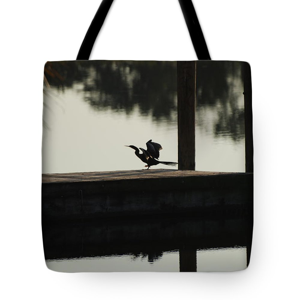 Reflections Tote Bag featuring the photograph Dock Bird by Rob Hans
