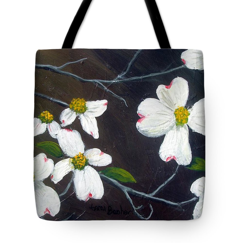 Dogwoods Tote Bag featuring the painting Dogwoods by Tami Booher
