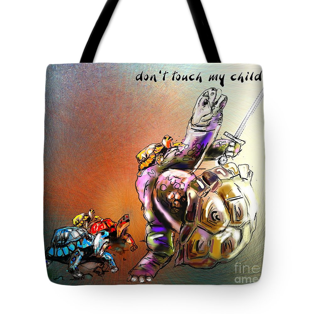 Turtle Painting Tote Bag featuring the digital art Don by Miki De Goodaboom