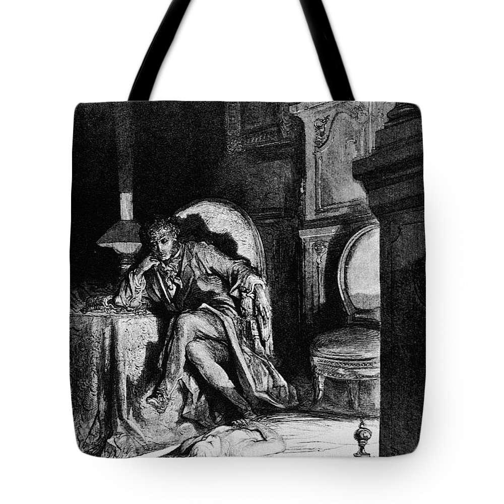 1882 Tote Bag featuring the drawing The Raven by Gustave Dore