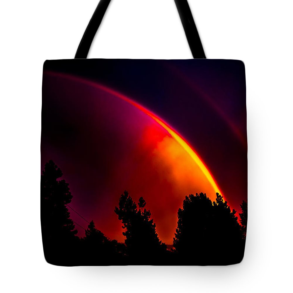 Colors Tote Bag featuring the photograph Double Rainbow by Omnius One