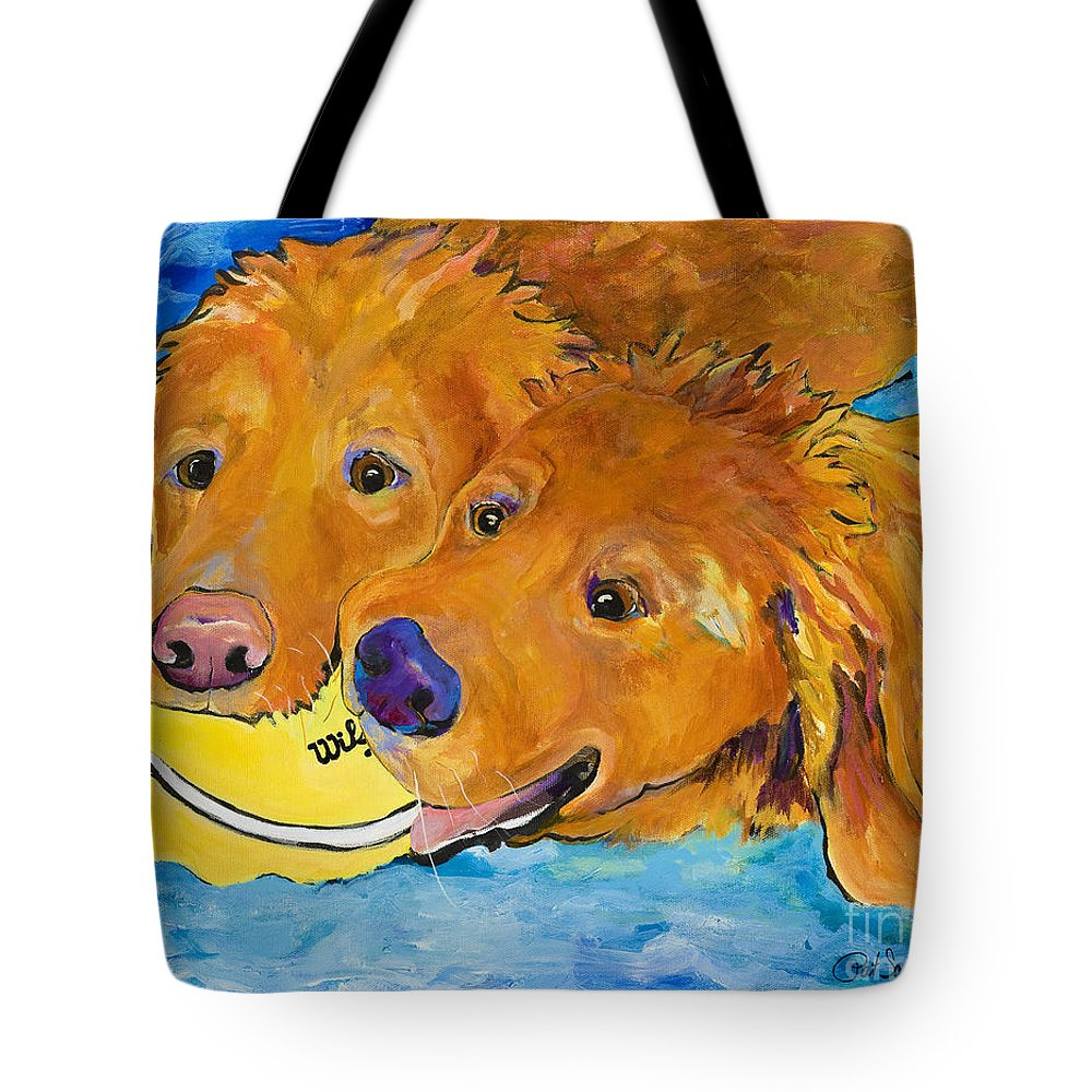 Golden Retriever Tote Bag featuring the painting Double Your Pleasure by Pat Saunders-White