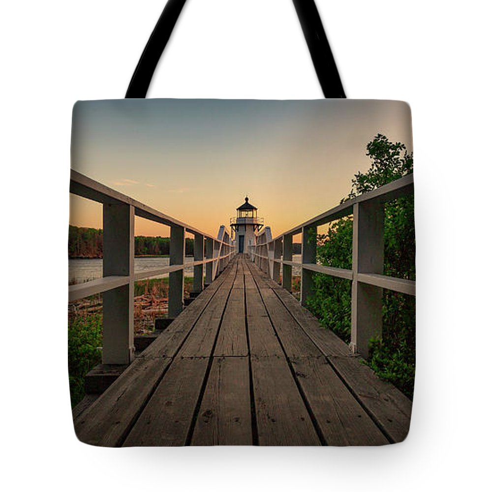 Bath Maine Lighthouse Sunset Coast Ocean Tote Bag featuring the photograph Doubling at Dusk by David Hufstader