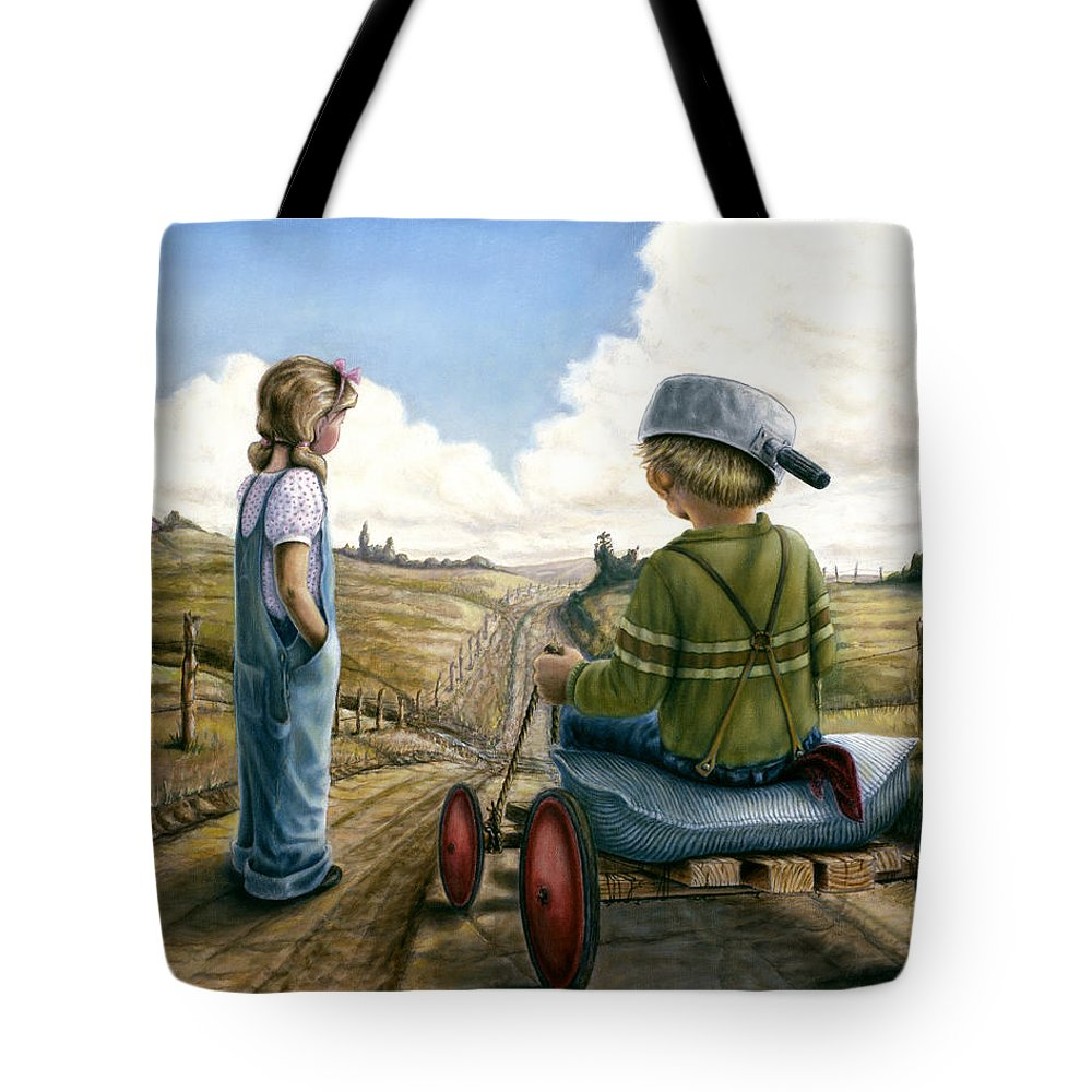 Children Playing Tote Bag featuring the painting Down Hill Racer by Lance Anderson