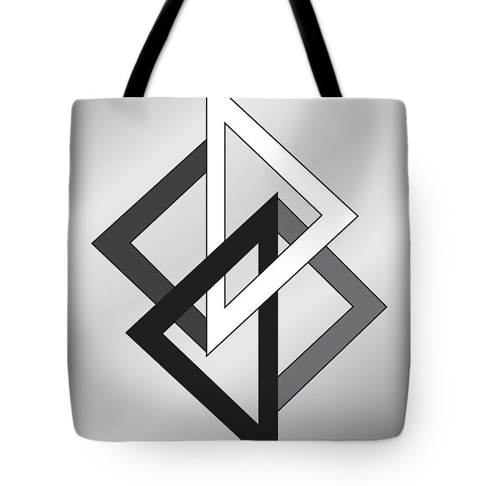 Illustration Tote Bag featuring the drawing Drawn2shapes1bnw by Maggie Mijares
