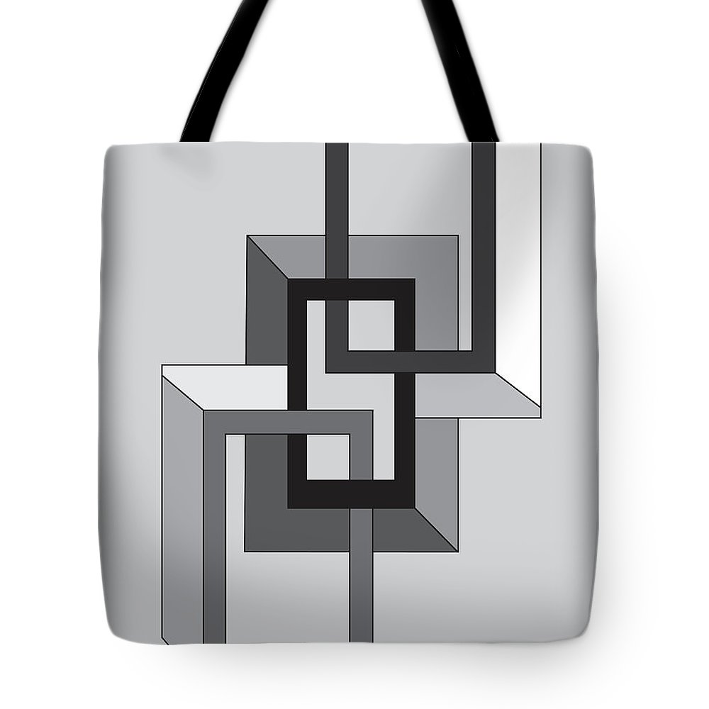 Illustration Tote Bag featuring the drawing Drawn2shapes2bnw by Maggie Mijares