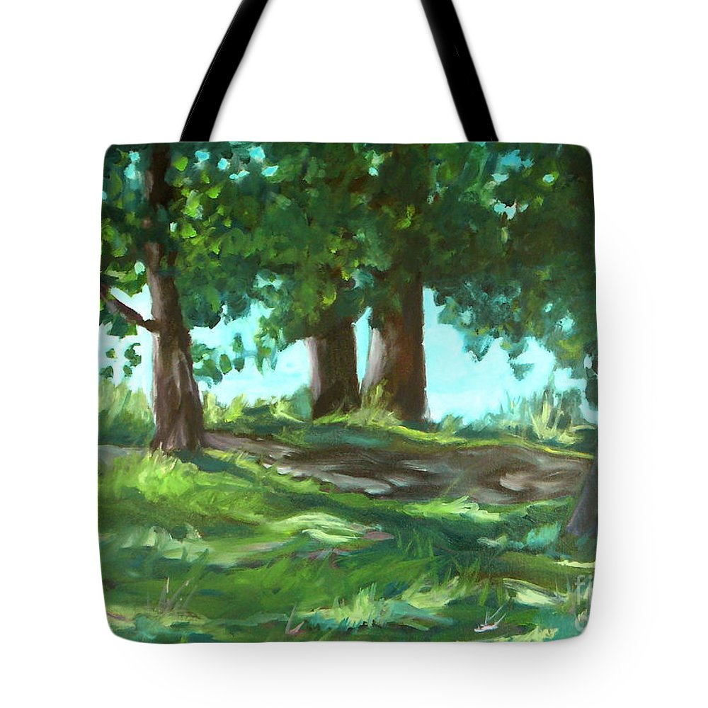 Expressionist Landscape Tote Bag featuring the painting Dreaming On Fellows Lake by Jan Bennicoff
