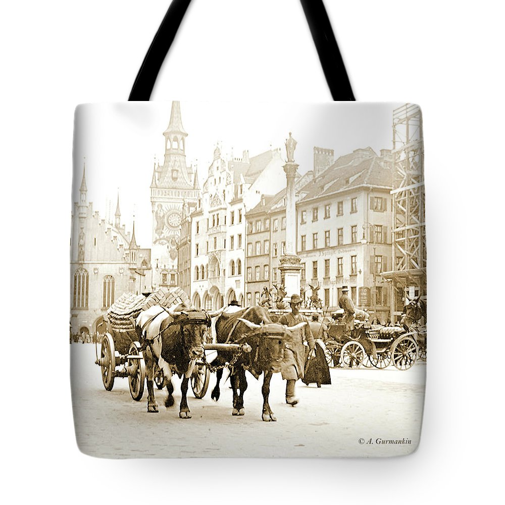 Altmarkt Tote Bag featuring the photograph Dresden, Altmarkt Square, Germany, 1903 by A Gurmankin