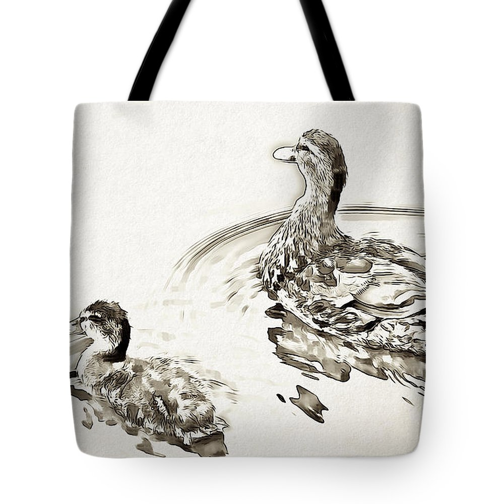 Duck Tote Bag featuring the digital art Duck by Lora Battle