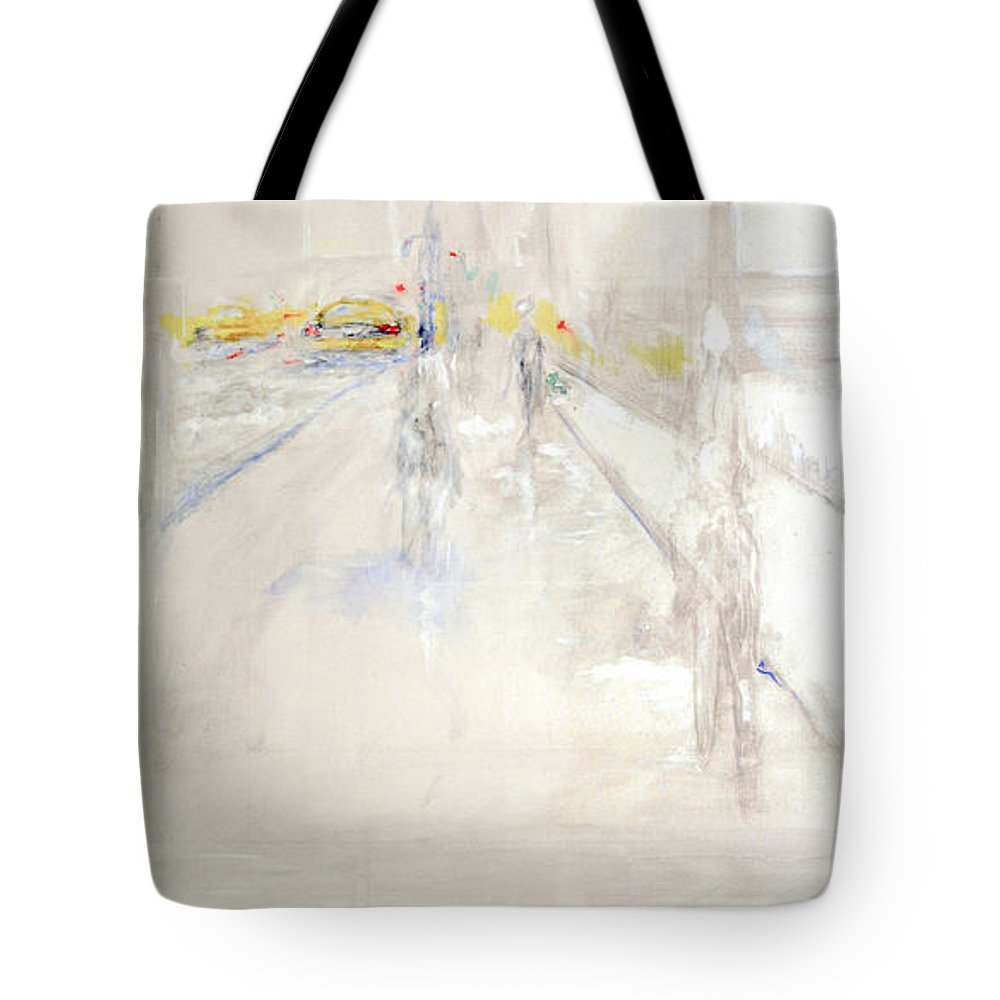 Union Square Tote Bag featuring the painting Early Winter In Manhattan by Jack Diamond