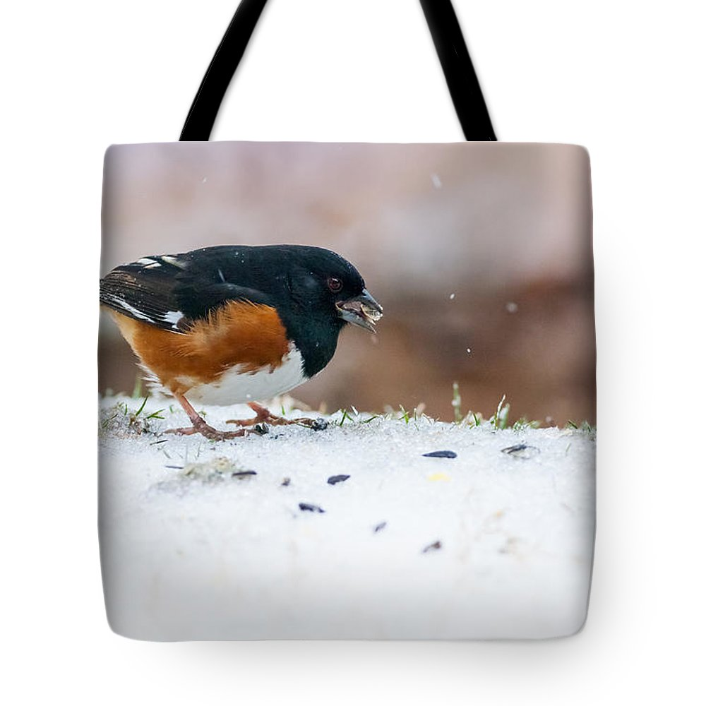 Eastern Towhee Tote Bag featuring the photograph Eastern Towhee by Melinda Fawver
