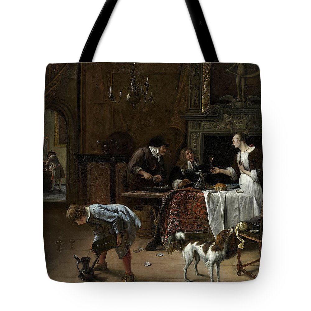 Animal Tote Bag featuring the painting Easy Come, Easy Go by Jan Steen