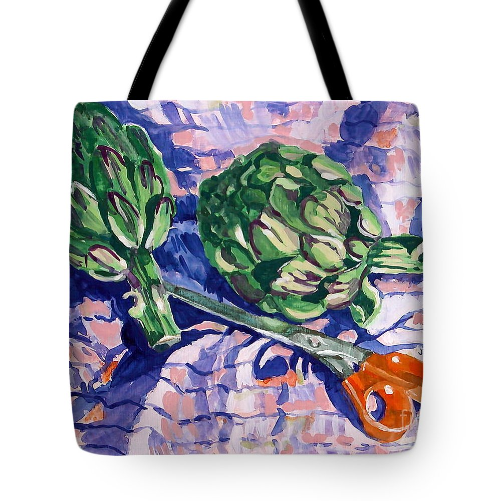 Greens Tote Bag featuring the painting Edible Flowers by Jan Bennicoff