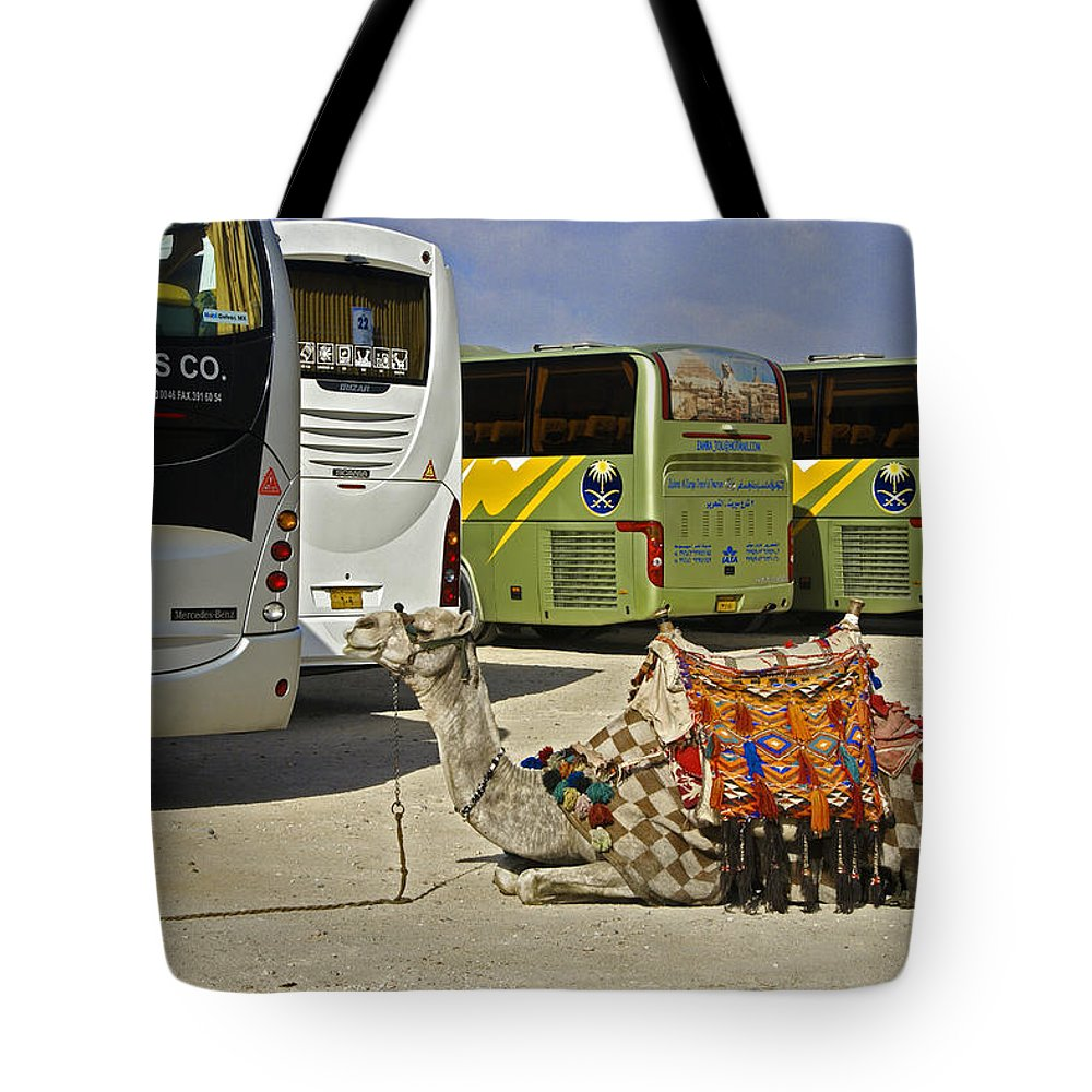Humor Tote Bag featuring the photograph Egyptian Parking Lot by Michele Burgess