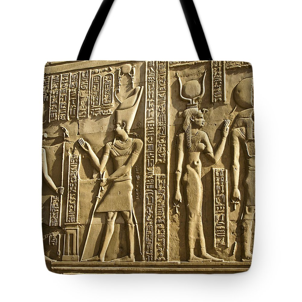 Egypt Tote Bag featuring the photograph Egyptian Temple Art by Michele Burgess