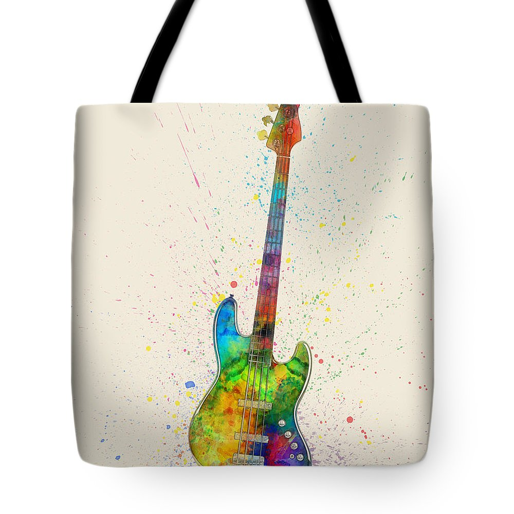Bass Guitar Tote Bag featuring the digital art Electric Bass Guitar Abstract Watercolor 1 by Michael Tompsett