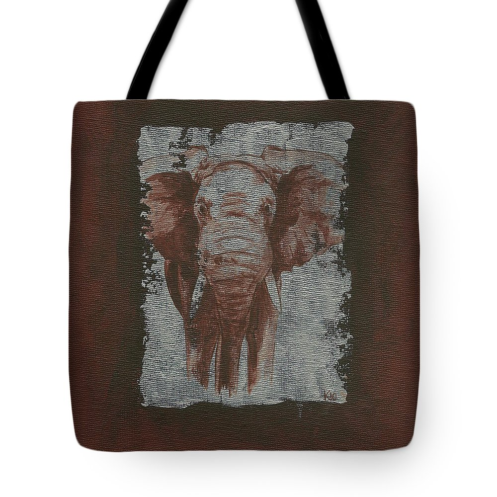 African Elephant Tote Bag featuring the painting Elephant by Konni Jensen