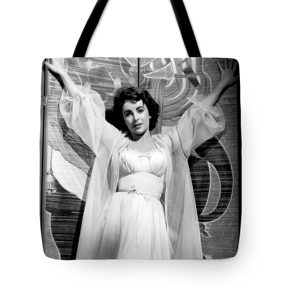 Hollywood Stars Celebrity Tote Bag featuring the photograph Elizabeth Taylor Diamond Are Forever With Her Collectin by Peter Nowell