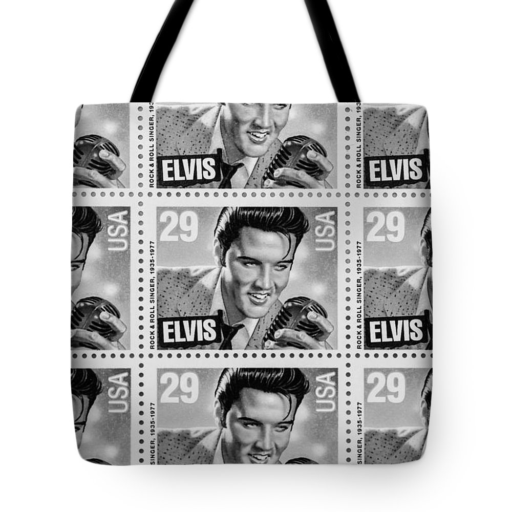Elvis Stamp Tote Bag featuring the photograph Elvis Commemorative Stamp January 8th 1993 Painted Bw by Rich Franco