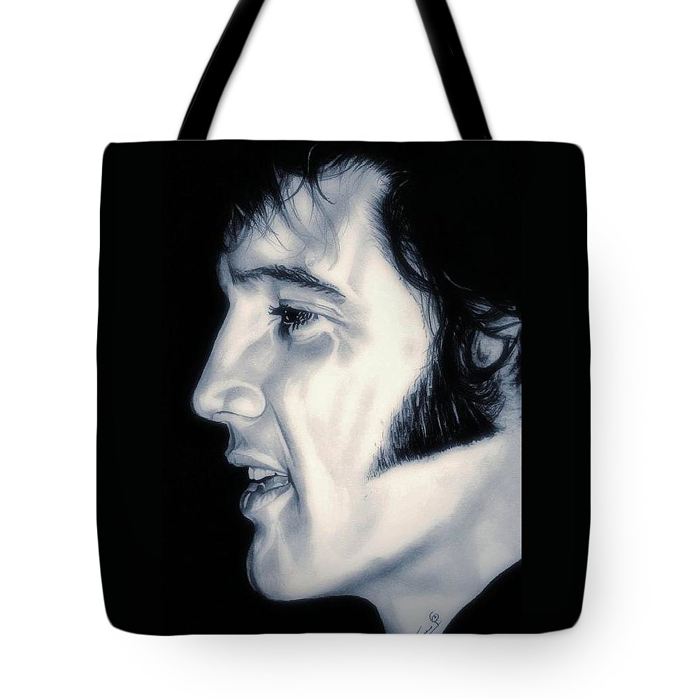 The King Tote Bag featuring the drawing Elvis Presley The King by Fred Larucci
