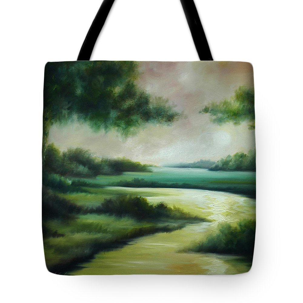 Bright Clouds; Sunsets; Reflections; Ocean; Water; Purple; Orange; Storms; Lightning; Contemporary; Abstract; Realism; James Christopher Hill; James Hill Studios; James C. Hilll; Forest; Flowers; Trees; Green; River; Water Tote Bag featuring the painting Emerald Forest by James Christopher Hill
