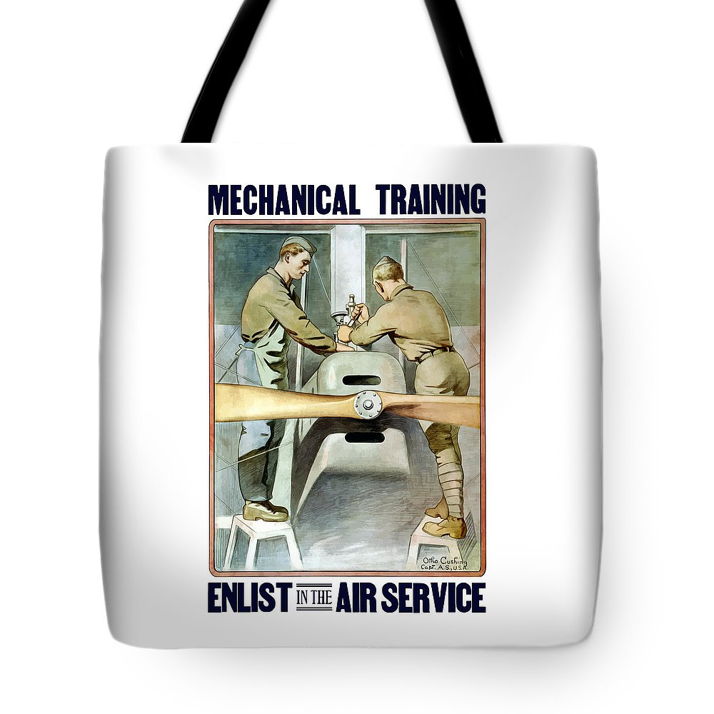 Ww1 Tote Bag featuring the painting Mechanical Training - Enlist In The Air Service by War Is Hell Store
