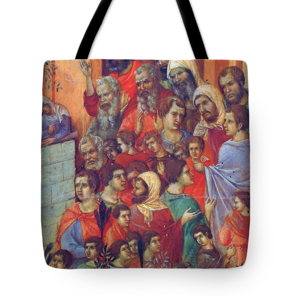 Entry Tote Bag featuring the painting Entry Into Jerusalem Fragment 1311 by Duccio