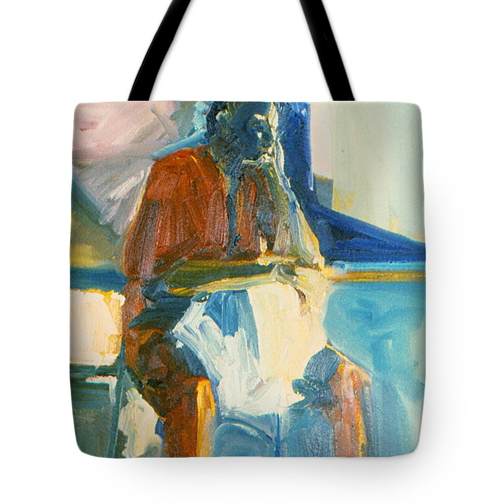 Oil Painting On Paper Tote Bag featuring the painting Ernie by Daun Soden-Greene