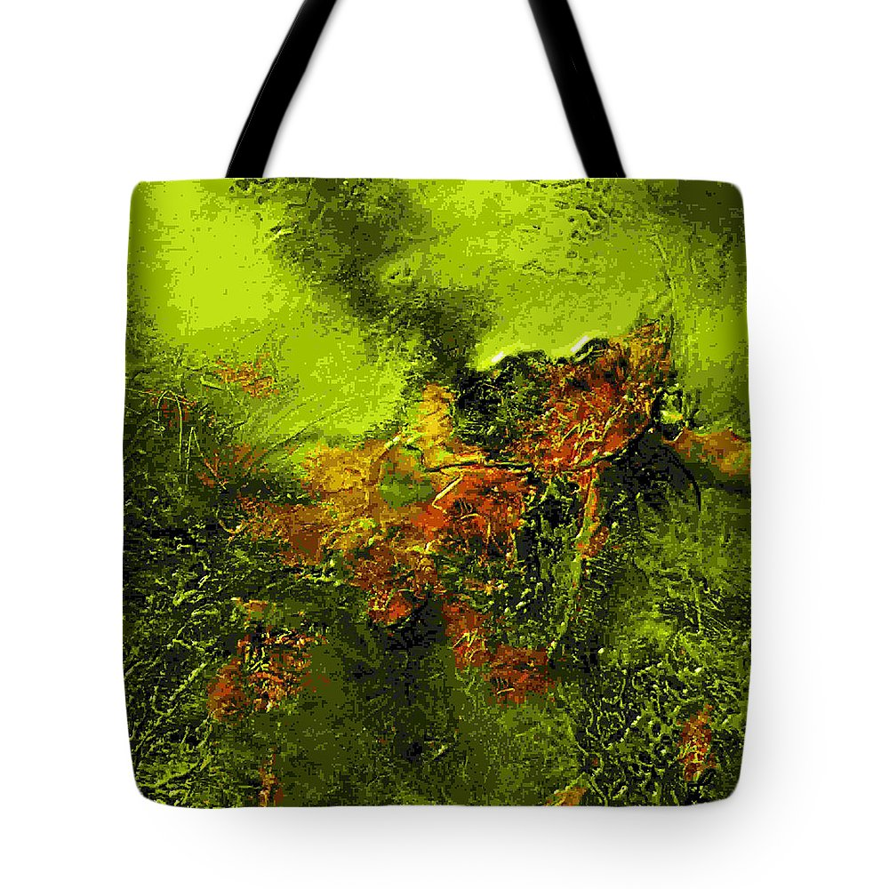 Eruption Tote Bag featuring the mixed media eruption II by Dragica Micki Fortuna