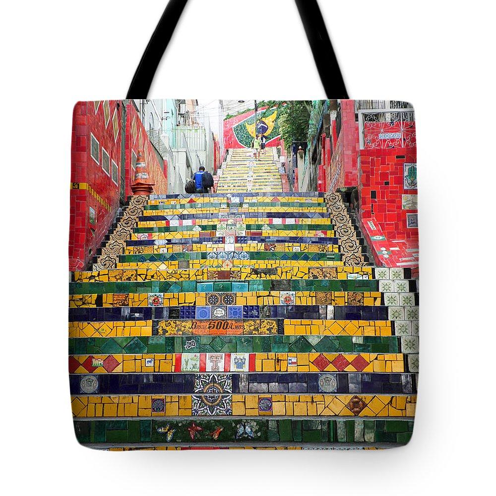 Escadaria Selaron Tote Bag featuring the photograph Escadaria Selaron In Rio De Janeiro by Ralf Broskvar