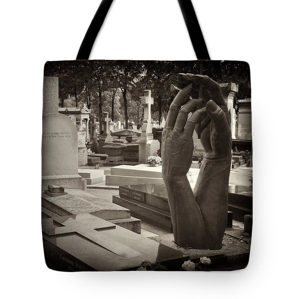 Statue Tote Bag featuring the photograph Eternal Hands by Mick Burkey