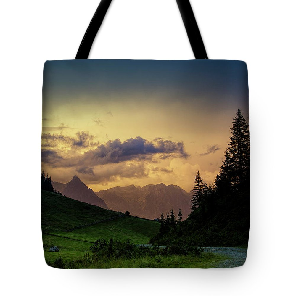 Evening Tote Bag featuring the photograph Evening In The Alps by Nailia Schwarz