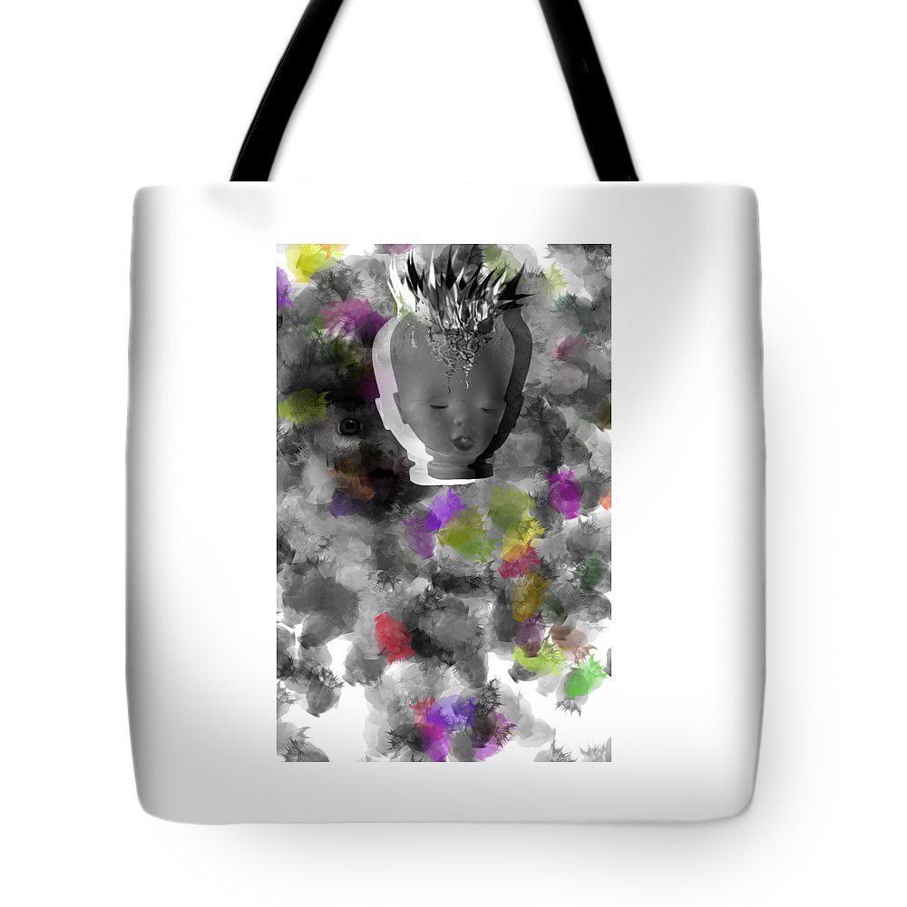 Ok Tote Bag featuring the digital art Exploding Head by Michal Boubin