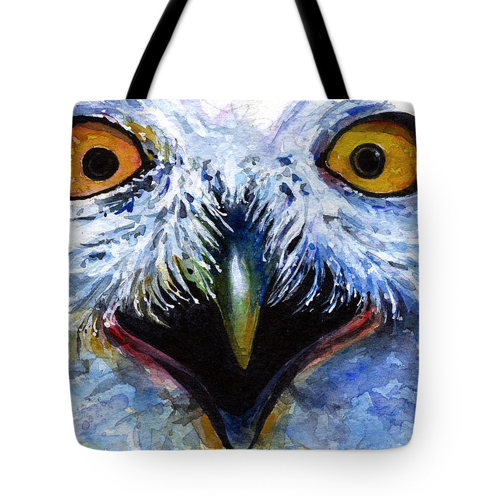 Eye Tote Bag featuring the painting Eyes Of Owls No. 15 by John D Benson