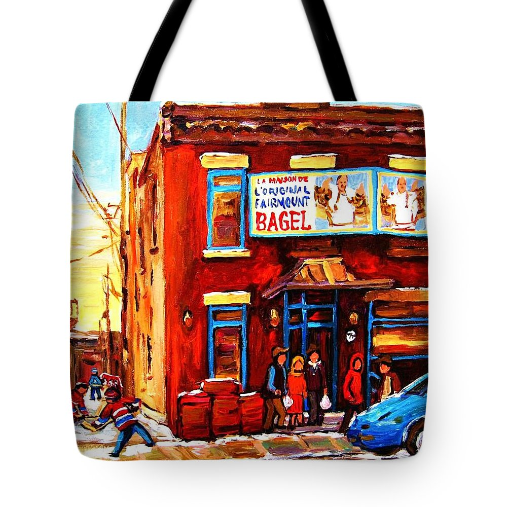 Hockey Tote Bag featuring the painting Fairmount Bagel In Winter by Carole Spandau