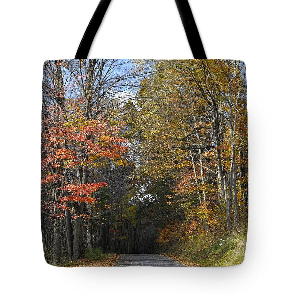 Fall Scene Tote Bag featuring the photograph Fall Lane by Penny Neimiller