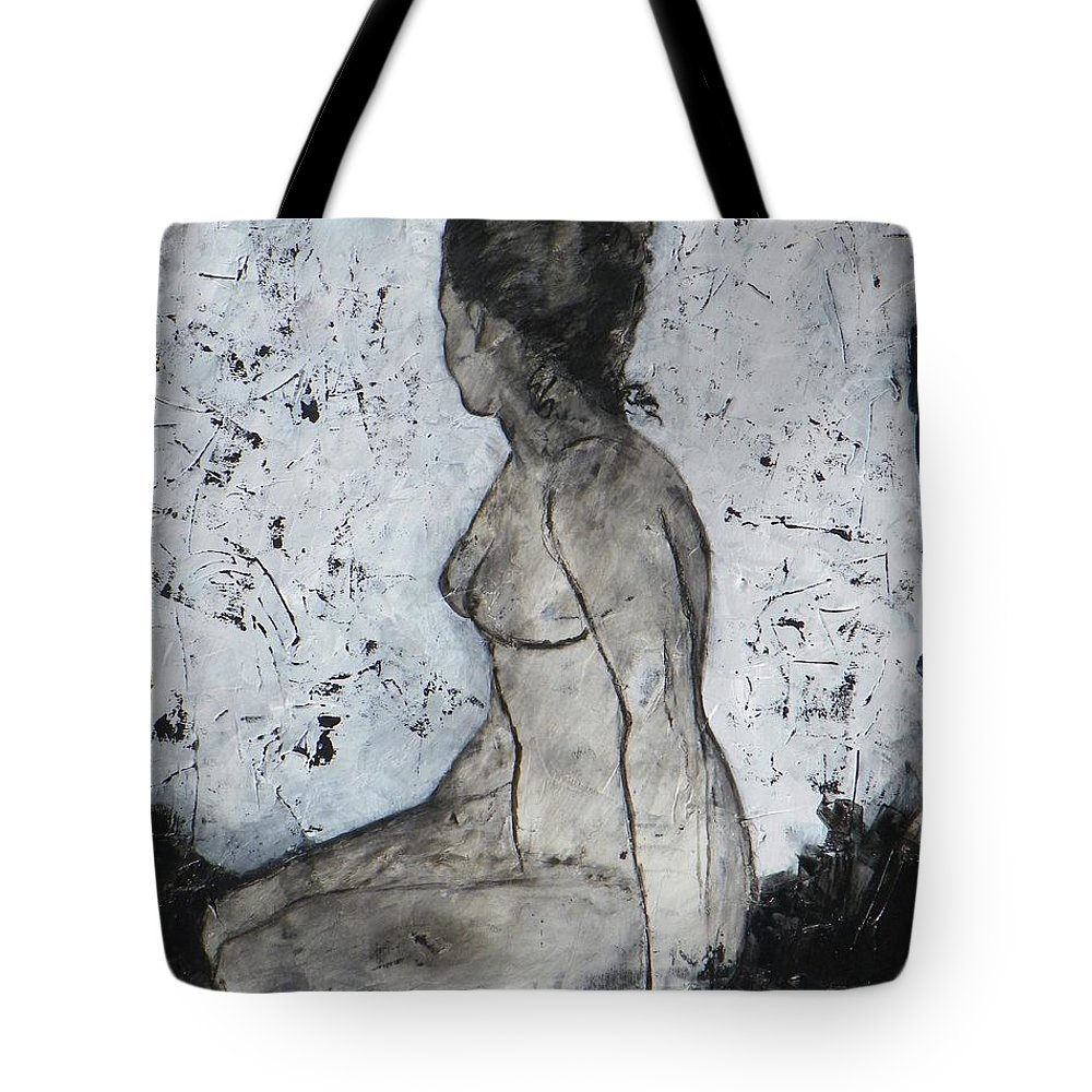 Abstract Expressionism Tote Bag featuring the painting Figure Study 028 by Donna Frost