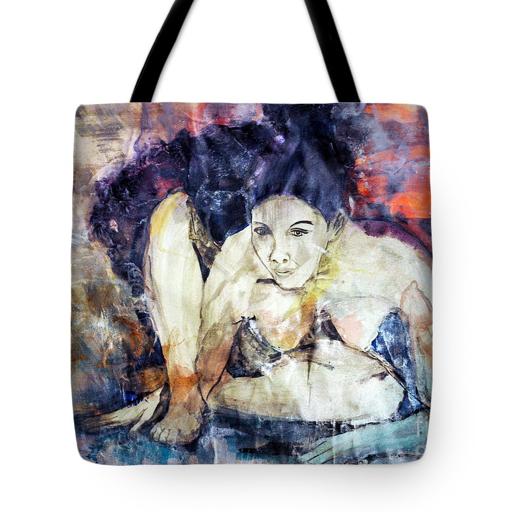 Figure Tote Bag featuring the painting Figure Study by Lori Moon