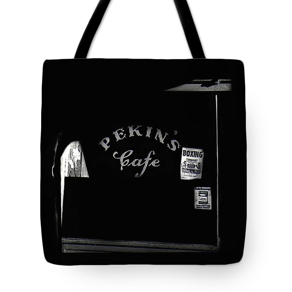Film Noir Out Of The Past 1947 Pekin's Cafe Leveled Shortly Part Of Urban Renewal Tucson Arizona '67 Tote Bag featuring the photograph Film Noir Out Of The Past 1947 Pekin's Cafe Leveled Shortly Part Of Urban Renewal Tucson Az '67-'08 by David Lee Guss