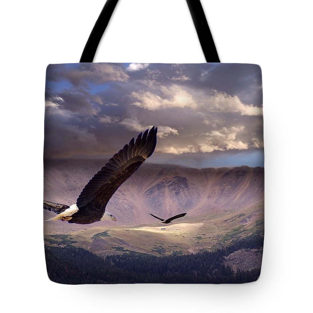Eagles Tote Bag featuring the digital art Finding Tranquility by Bill Stephens