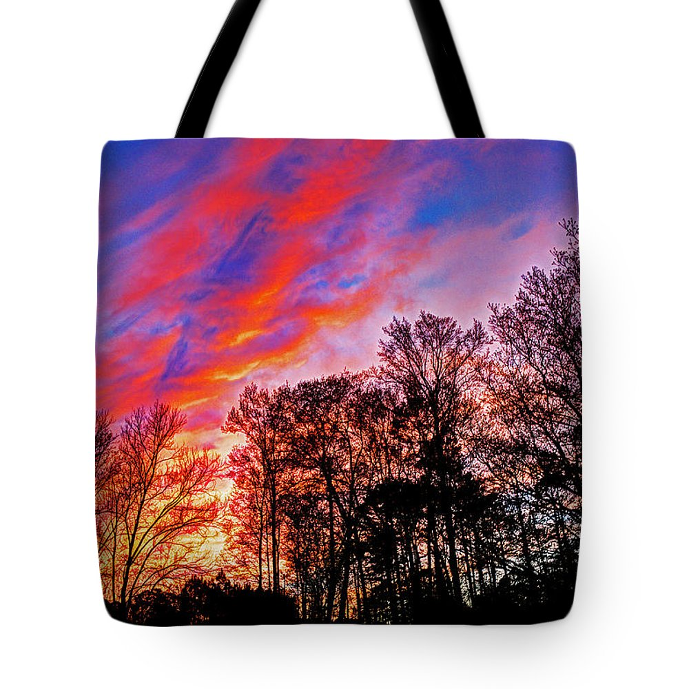 Sunset Tote Bag featuring the photograph Fire In The Sky by David Campbell