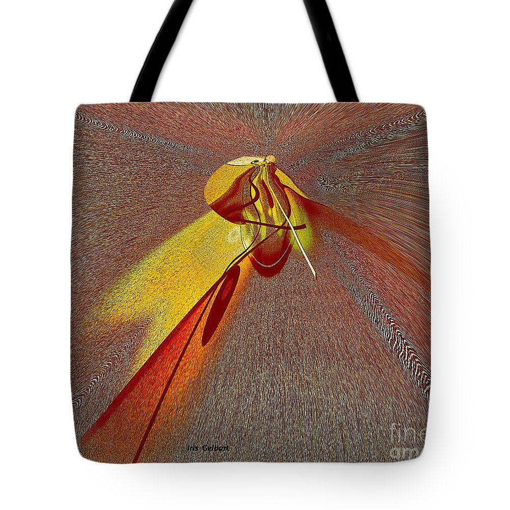 Abstract Tote Bag featuring the digital art Firefly by Iris Gelbart
