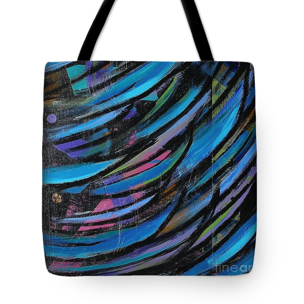 Blue Tote Bag featuring the painting Fireworks by Maria Bonnier-Perez
