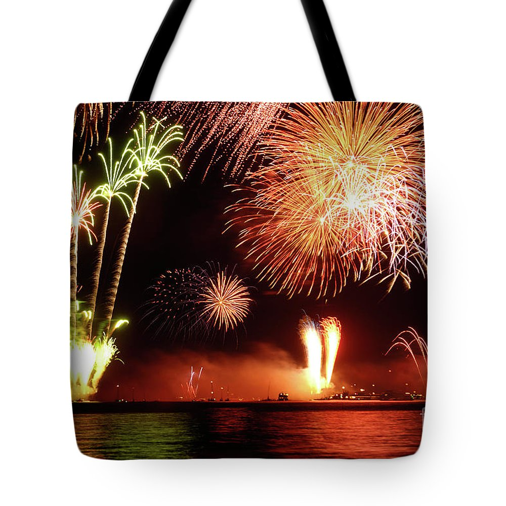 Fireworks Tote Bag featuring the photograph Fireworks by Oleksiy Maksymenko