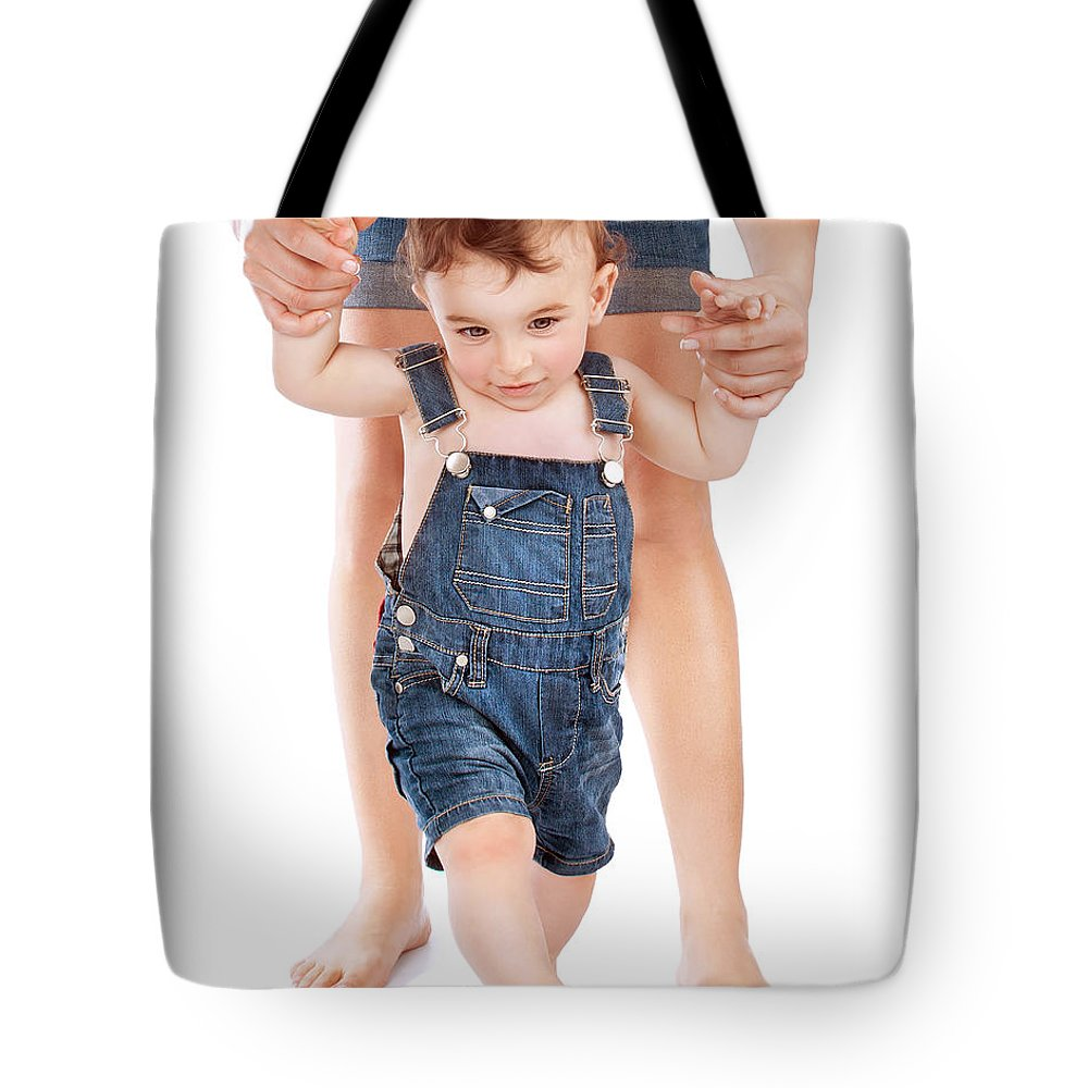 Adorable Tote Bag featuring the photograph First Baby Steps by Anna Om
