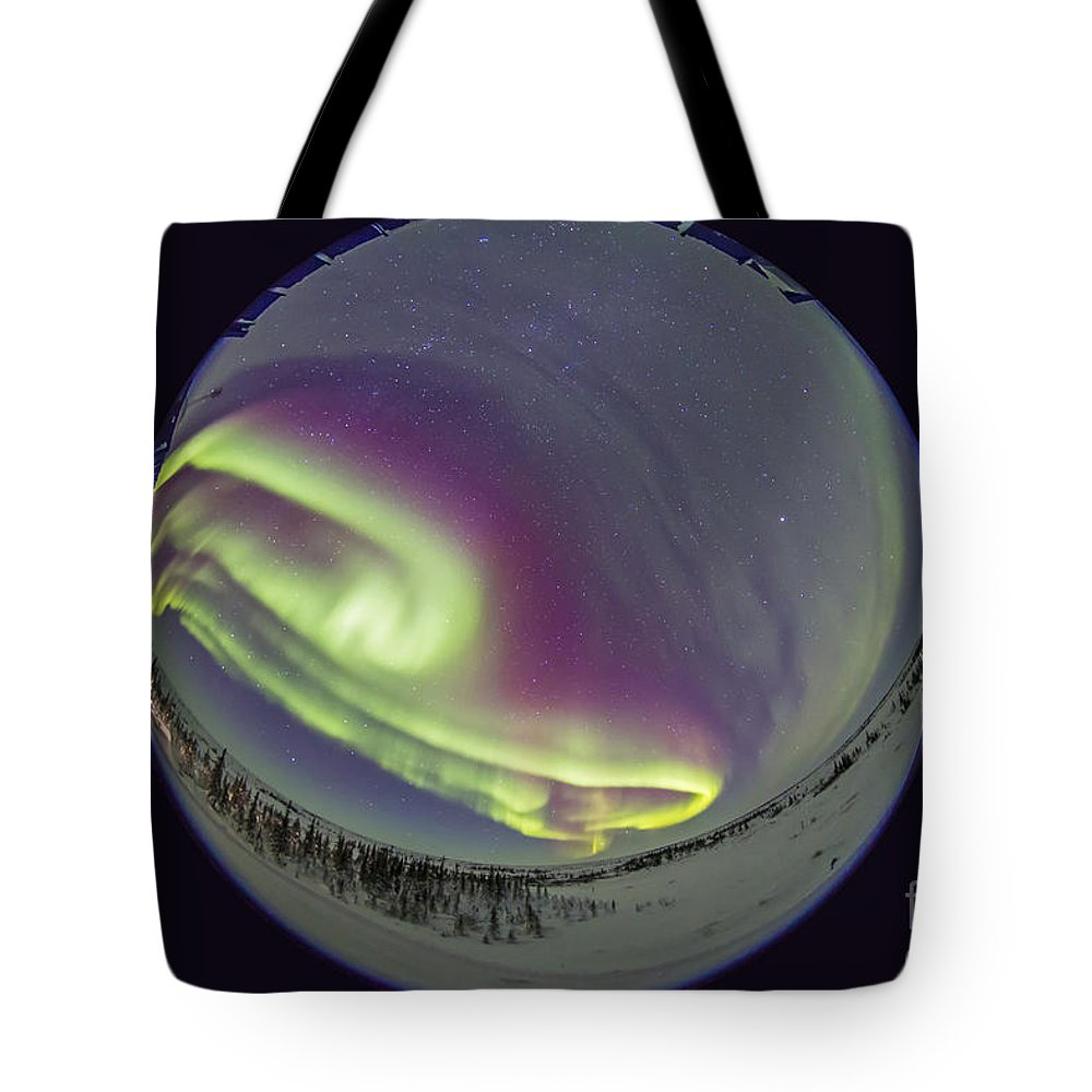 Aurora Tote Bag featuring the photograph Fish-eye Lens View Of The Northern by Alan Dyer