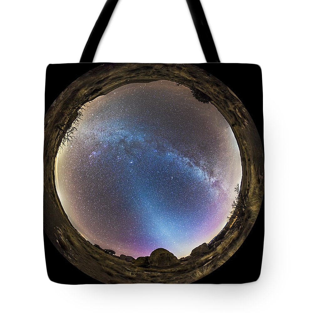 City Of Rocks State Park Tote Bag featuring the photograph Fish-eye Panorama Of Milky Way by Alan Dyer
