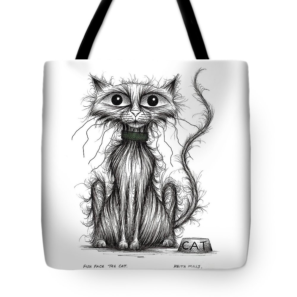 Drawn Pets Tote Bag featuring the drawing Fish Face The Cat by Keith Mills