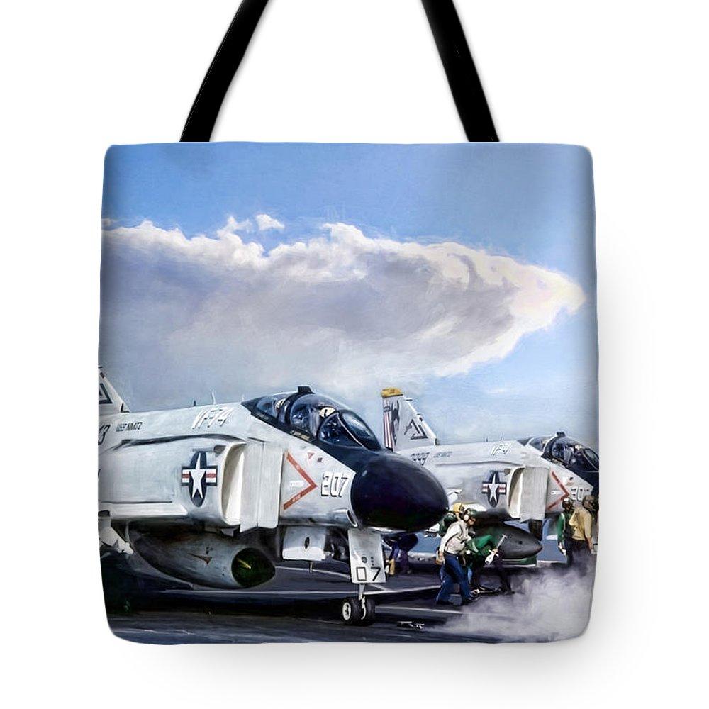 Aviation Tote Bag featuring the digital art Phantom Flight Deck by Peter Chilelli